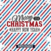 Merry Christmas and Happy new year card on a bright stripy backg
