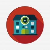 Police Station Flat Icon With Long Shadow,eps10
