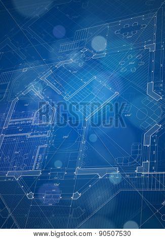 architecture design blueprint. Architecture Design: Blueprint House Plan \u0026 Blue Technology Background - Vector Illustration Poster Design T