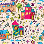 stock photo of moon-flower  - Seamless pattern with little castles and flowers - JPG
