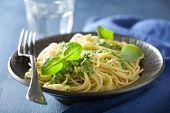 picture of pesto sauce  - spaghetti pasta with pesto sauce over blue - JPG