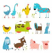 pic of baby goose  - Countryside amusing vivid cottage baby animals illustration for children - JPG