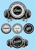 stock photo of monochromatic  - set of vector patterns for monochromatic emblems with barrels - JPG