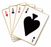 image of ace spades  - The four aces playing cards over a white background - JPG