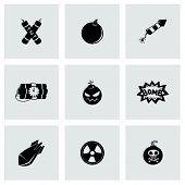 foto of nuclear bomb  - Vector Bomb icon set on grey background - JPG
