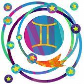 foto of gemini  - papercut style zodiac icon set - JPG