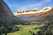 stock photo of andes  - View a valley and Andes mountains in the Cordillera Blanca near Huaraz Peru - JPG