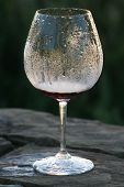 image of condensation  - A wine glass that was not collected after a party - JPG