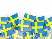 pic of sweden flag  - Flag pin of sweden isolated on white - JPG