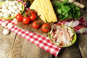picture of ingredient  - Food ingredients for cooking on table close up - JPG