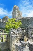 picture of fortified wall  - Ruins of ancient fortress wall in the museum of Chersonesos in Sevastopol town - JPG