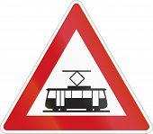 foto of land-mass  - Tram Warning road sign of the Czech Republic - JPG