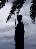 stock photo of sceptre  - Silhouette of Monument to The King Tvrtko I in Herceg - JPG