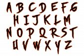 stock photo of bloody  - skinner Halloween bloody alphabet isolated on white - JPG