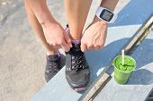 stock photo of smoothies  - Running shoes - JPG