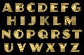 stock photo of vaudeville  - gold yellow lights vaudeville burlesque alphabet collection - JPG