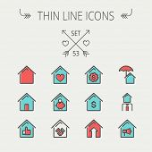 foto of house rent  - Real Estate thin line icon set for web and mobile - JPG
