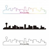 stock photo of knoxville tennessee  - Knoxville skyline linear style with rainbow in editable vector file - JPG