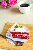 picture of red velvet cake  - Close up of Red velvet cake and coffee on table