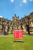 stock photo of church-of-england  - Cathedral Church with sign in the foreground Chester Cheshire England UK Western Europe - JPG
