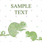 picture of chameleon  - Abstract funny chameleon cartoon vector illustration text - JPG