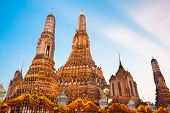 stock photo of south east asia  - Wat Arun Temple in Bangkok, Thailand, south east Asia. ** Note: Visible grain at 100%, best at smaller sizes - JPG