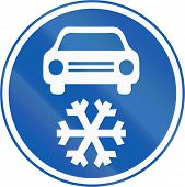foto of mandate  - A new Czech road sign which mandates to use winter tires in the Winter season - JPG