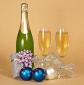stock photo of champagne glasses  - Bottle of champagne - JPG