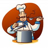 picture of saucepan  - happy cartoon cook with spoon and saucepan - JPG