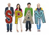 pic of spam  - DIverse People Holding Text Spam - JPG