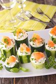 image of canapes  - canape with cucumber - JPG