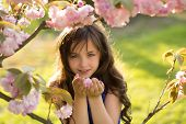 stock photo of cherries  - Small brunette girl looking forward smelling cherry bloom standing among pink japanese cherry blossom in broad daylight in the park horizontal picture - JPG
