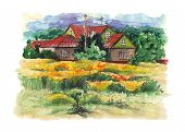 image of farmhouse  - Rural watercolor landscape with old farmhouse - JPG