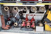 stock photo of fire brigade  - equipments and tools of firefighters to fire off - JPG