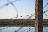 stock photo of coil  - Barbed wire coiled around a concrete column outdoors - JPG