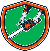 pic of arborist  - Illustration of hand holding chainsaw chain saw done in retro style on isolated background set inside shield crest - JPG