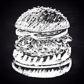 image of burger  - Chalk painted guacamole burger - JPG