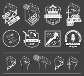 picture of rapper  - Set of vector badges and stickers Hip Hop and Rap music - JPG