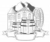 picture of water-mill  - Vector illustration of water mill on a white background - JPG