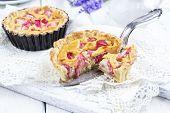 stock photo of tarts  - Rhubarb Tart - JPG