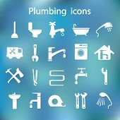 pic of plumbing  - plumbing objects and tools icons  - JPG