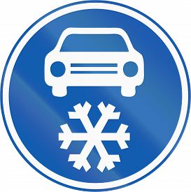 image of mandate  - A new Czech road sign which mandates to use winter tires in the Winter season - JPG