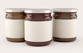 picture of jar jelly  - Jars with fruit jam over white background - JPG