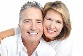 stock photo of old couple  - Happy seniors couple in love - JPG