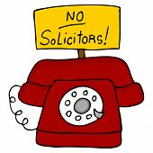 pic of soliciting  - An image of a telephone with a no solicitors sign - JPG