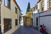 Постер, плакат: cobblestone streets in old town of Xanthi East Macedonia and Thrace