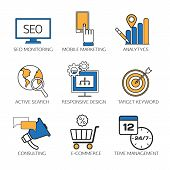 Search engine optimization technology outline icons set,  user web search experience.  SEO monitorin poster