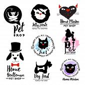 Постер, плакат: Pet shop logo Dog and cat logotype sign Animal home icon logo