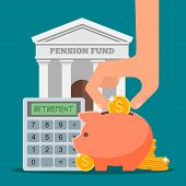 Постер, плакат: Pension fund concept vector illustration in flat style design Finance investment and saving backgro