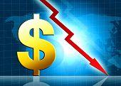 Dólar diminuindo valor ilustração